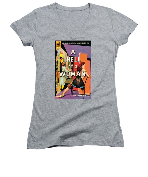 Women's V-Neck T-Shirt (Junior Cut) featuring the painting A Hell Of A Woman by Morgan Kane