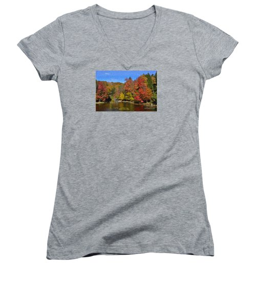 Women's V-Neck T-Shirt (Junior Cut) featuring the painting A Little Piece Of Adirondack Heaven by Diane E Berry