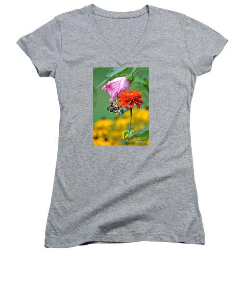 Women's V-Neck T-Shirt (Junior Cut) featuring the photograph A New Beginning by Lila Fisher-Wenzel