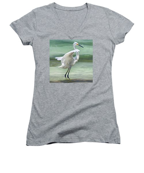 A Snowy Egret (egretta Thula) At Mahoe Women's V-Neck T-Shirt (Junior Cut)