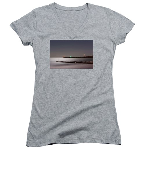 Aberdeen Beach At Night Women's V-Neck (Athletic Fit)