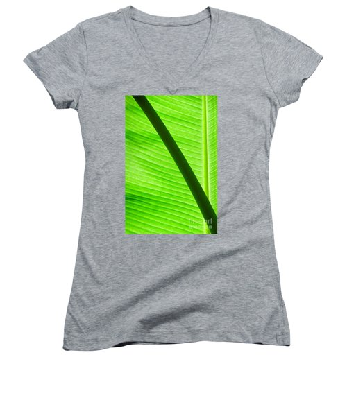Women's V-Neck T-Shirt (Junior Cut) featuring the photograph Abstract Banana Leaf by Yurix Sardinelly