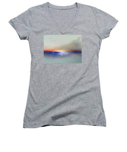 Abstract Beach Sunrise  Women's V-Neck T-Shirt (Junior Cut) by Anthony Fishburne