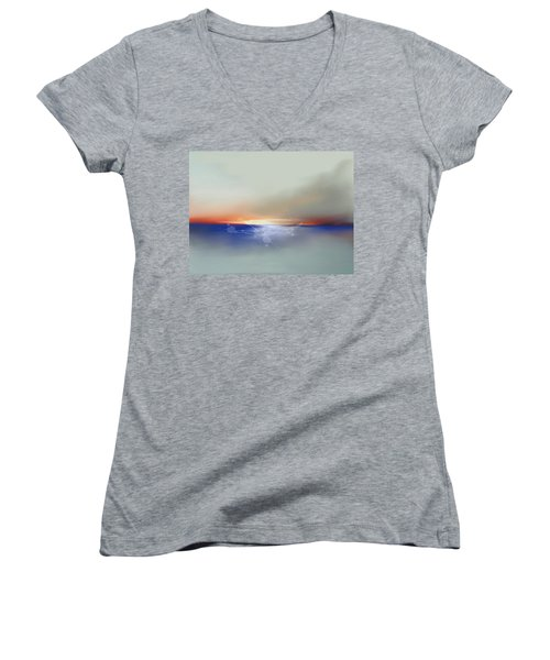 Abstract Beach Sunrise  Women's V-Neck (Athletic Fit)