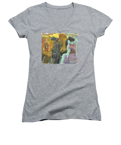 Women's V-Neck T-Shirt (Junior Cut) featuring the painting Abstract Cow Painting by Robert Joyner