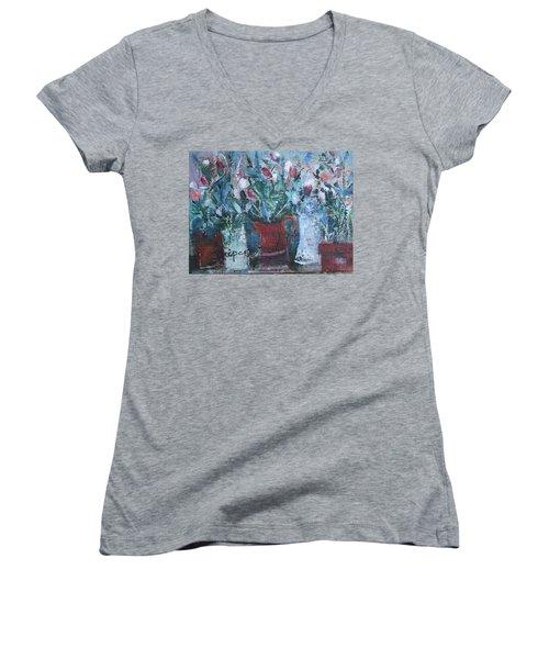 Abstract Flowers Women's V-Neck T-Shirt