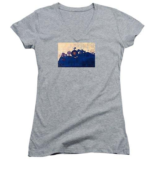 Abstract Painting - Champagne Women's V-Neck T-Shirt (Junior Cut) by Vitaliy Gladkiy