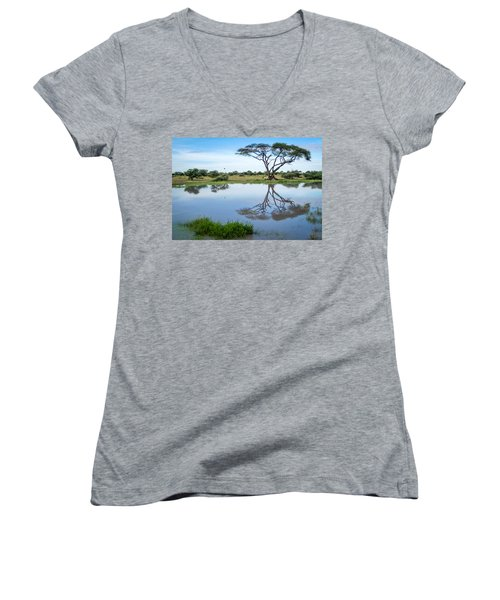 Acacia Tree Reflection Women's V-Neck (Athletic Fit)