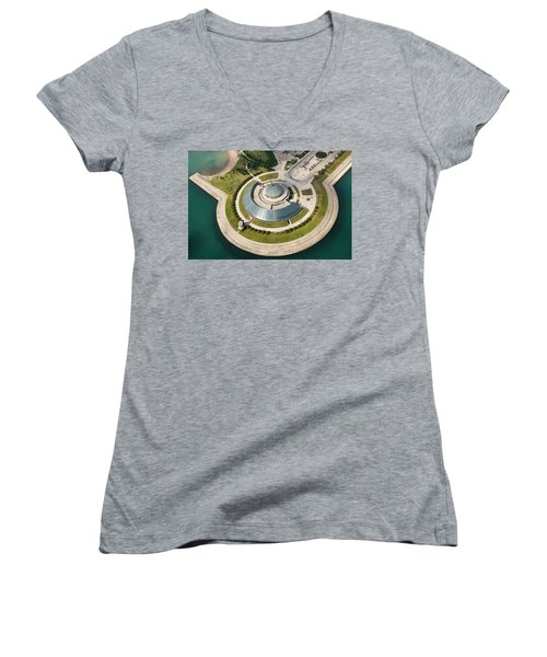 Women's V-Neck T-Shirt featuring the photograph Adler Planetarium Aerial by Adam Romanowicz