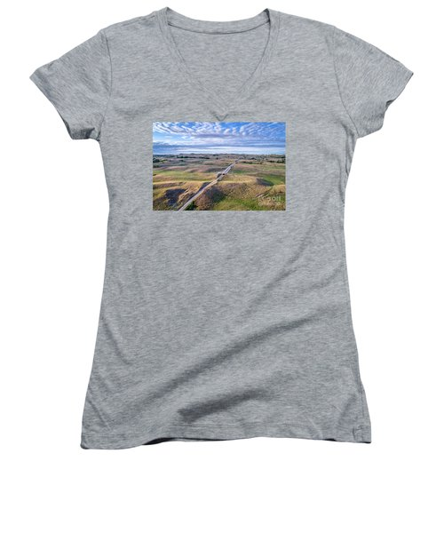aerial view of Nebraska Sandhills  Women's V-Neck (Athletic Fit)