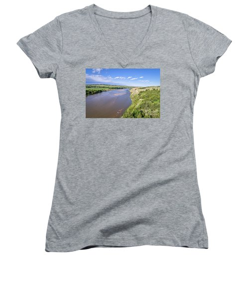 aerial view of Niobrara River in Nebraska Sand Hills Women's V-Neck (Athletic Fit)