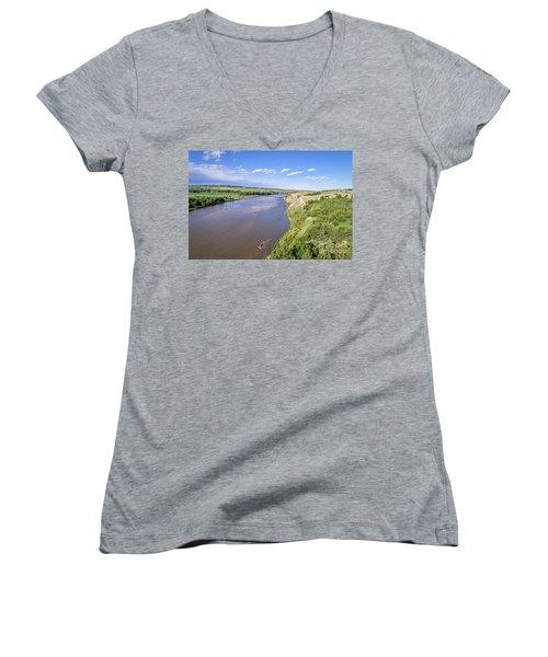 aerial view of Niobrara River in Nebraska Sand Hills Women's V-Neck T-Shirt