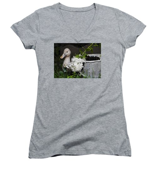 Women's V-Neck T-Shirt (Junior Cut) featuring the photograph After The Rain by Betty-Anne McDonald