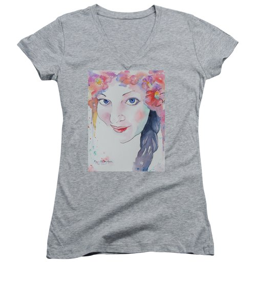 Women's V-Neck T-Shirt (Junior Cut) featuring the painting Alisha by Mary Haley-Rocks