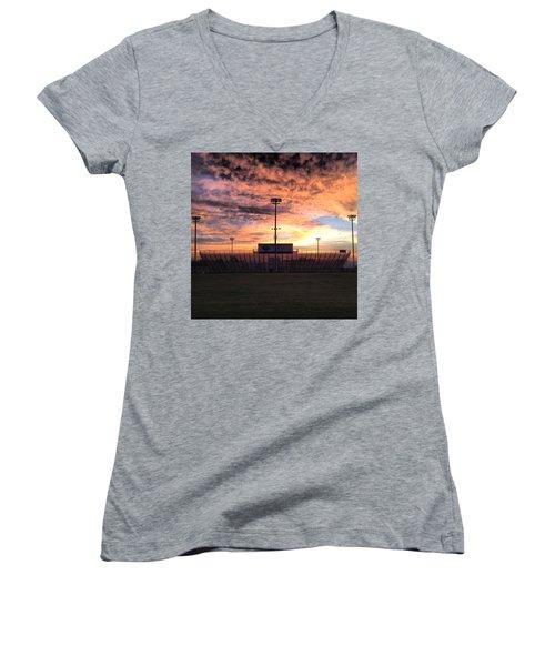 Alma High School Don Miller Field Sunrise Bleachers Women's V-Neck T-Shirt