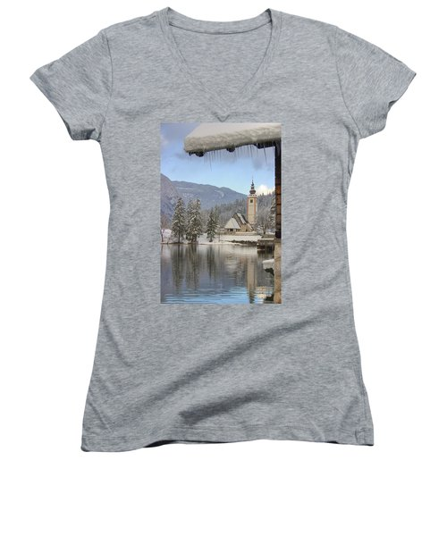 Women's V-Neck T-Shirt (Junior Cut) featuring the photograph Alpine Winter Clarity by Ian Middleton