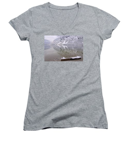 Women's V-Neck T-Shirt (Junior Cut) featuring the photograph Alpine Winter Reflections by Ian Middleton