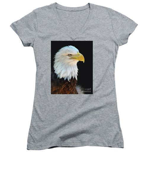 American Bald Eagle Women's V-Neck (Athletic Fit)