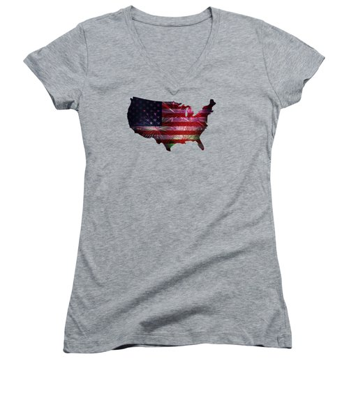 American Flag With Fireworks Display Women's V-Neck T-Shirt