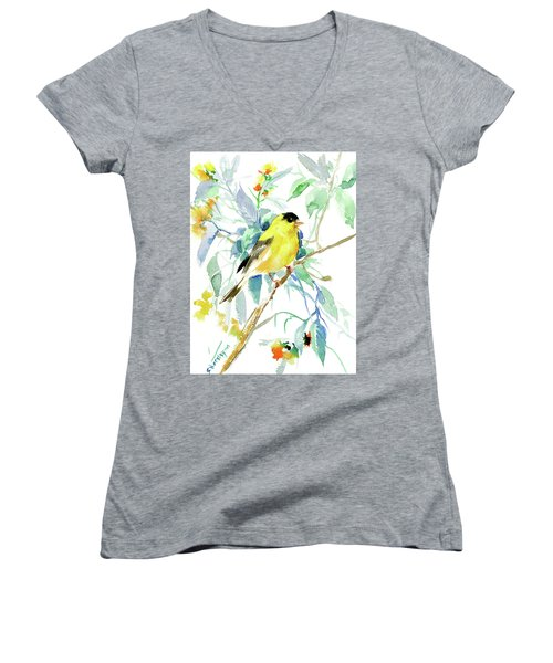 American Goldfinch Women's V-Neck T-Shirt (Junior Cut) by Suren Nersisyan
