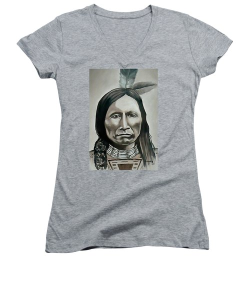 American Horse Women's V-Neck T-Shirt (Junior Cut) by Michael  TMAD Finney