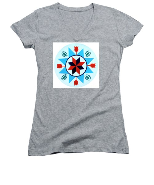 Women's V-Neck T-Shirt (Junior Cut) featuring the photograph Amish Hex Design by Paul W Faust - Impressions of Light