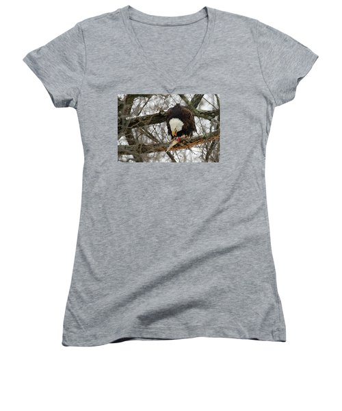 An Eagles Meal Women's V-Neck T-Shirt (Junior Cut) by Brook Burling