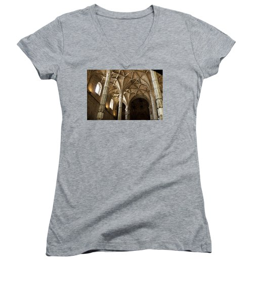 Women's V-Neck T-Shirt (Junior Cut) featuring the photograph Lisbon Cathedral's Ancient Arches  by Lorraine Devon Wilke