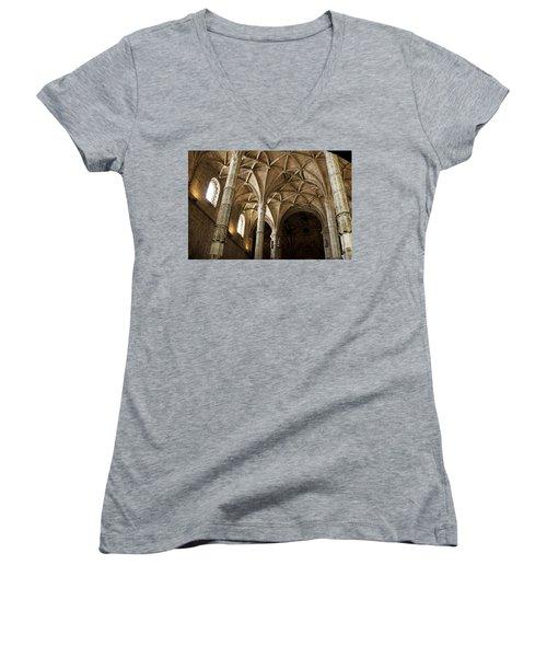 Lisbon Cathedral's Ancient Arches  Women's V-Neck T-Shirt (Junior Cut) by Lorraine Devon Wilke