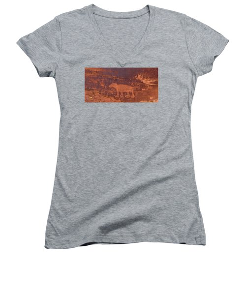 Ancient Native American Petroglyphs On A Canyon Wall Near Moab. Women's V-Neck