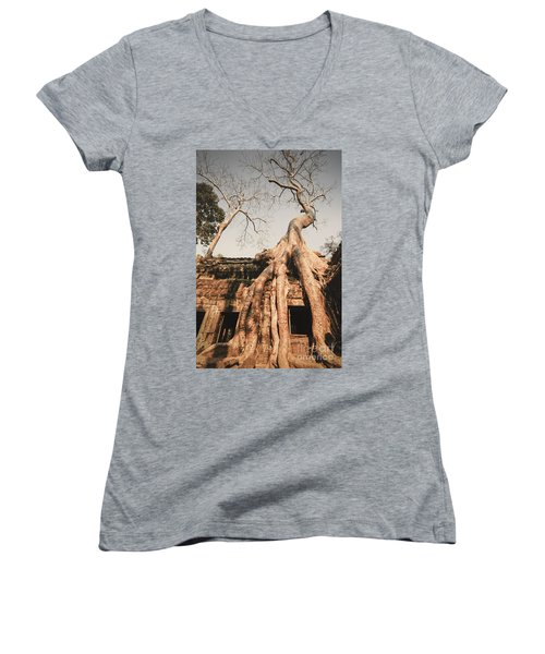 Women's V-Neck featuring the photograph Angkor Wat by Juergen Held