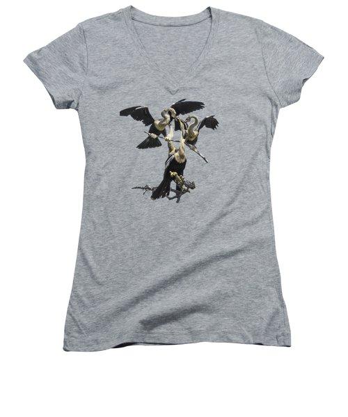 Anhinga Feeding Time Transparency Women's V-Neck T-Shirt (Junior Cut) by Richard Goldman
