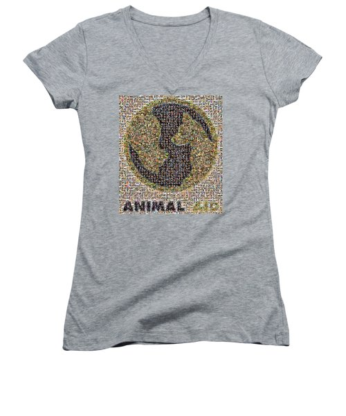 Women's V-Neck featuring the photograph Animal Aid 2017  by Kristia Adams