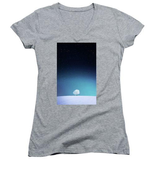 Apple Women's V-Neck T-Shirt (Junior Cut) by Bess Hamiti