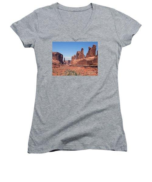 Arches National Park Panorama Women's V-Neck T-Shirt (Junior Cut) by Merton Allen