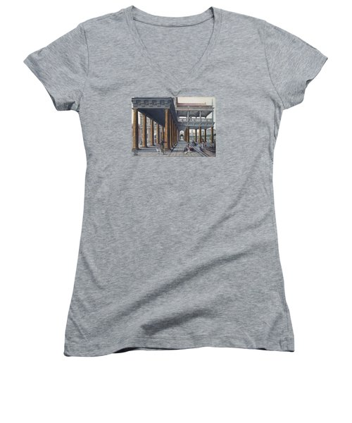 Architectural Caprice With Figures Women's V-Neck T-Shirt (Junior Cut) by Hans Vredeman de Vries
