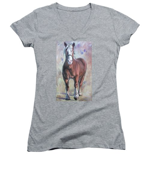 Arthur The Belgian Horse Women's V-Neck (Athletic Fit)