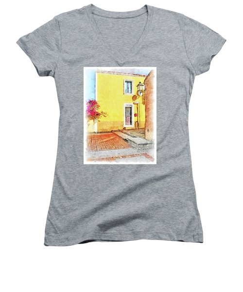 Arzachena Foreshortening Women's V-Neck T-Shirt