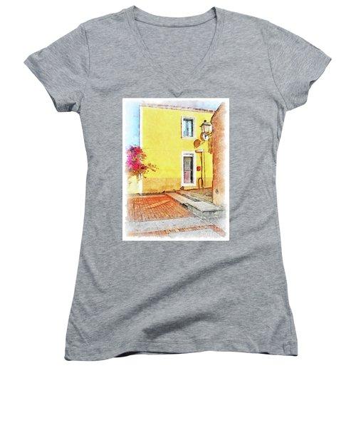 Arzachena Foreshortening Women's V-Neck T-Shirt