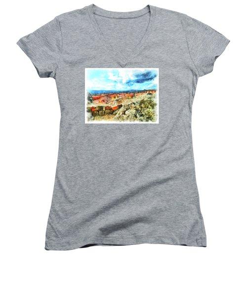 Arzachena Landscape With Clouds Women's V-Neck T-Shirt