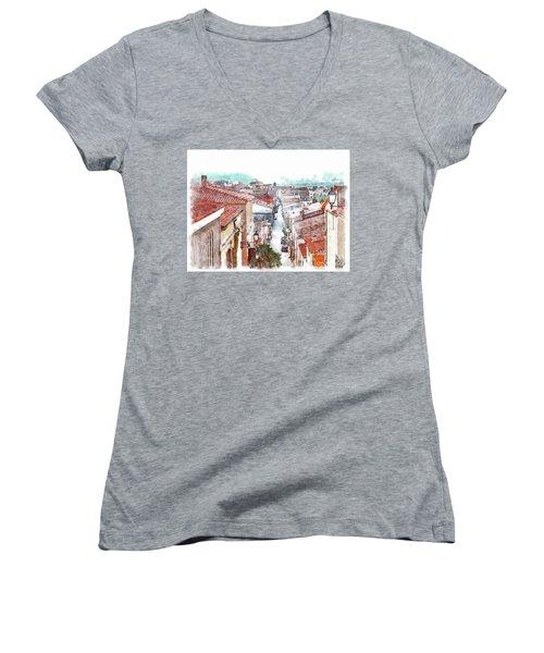 Arzachena View Of The Corso Garibaldi Women's V-Neck T-Shirt