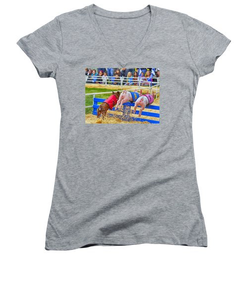 Women's V-Neck T-Shirt featuring the photograph At The Pig Races by AJ Schibig