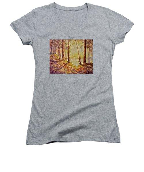 Autumn Glow Women's V-Neck T-Shirt (Junior Cut) by Carolyn Rosenberger