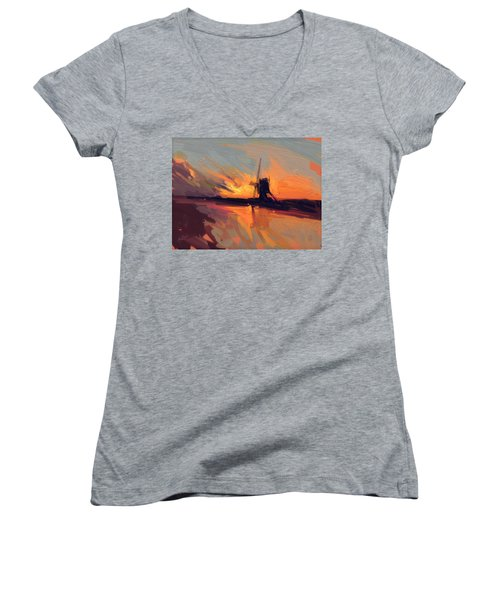 Autumn Indian Summer Windmill Holland Women's V-Neck T-Shirt (Junior Cut) by Nop Briex