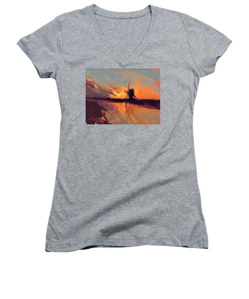 Autumn Indian Summer Windmill Holland Women's V-Neck T-Shirt (Junior Cut)