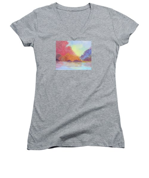 Women's V-Neck T-Shirt (Junior Cut) featuring the painting Autumn's Aura by Stacey Zimmerman