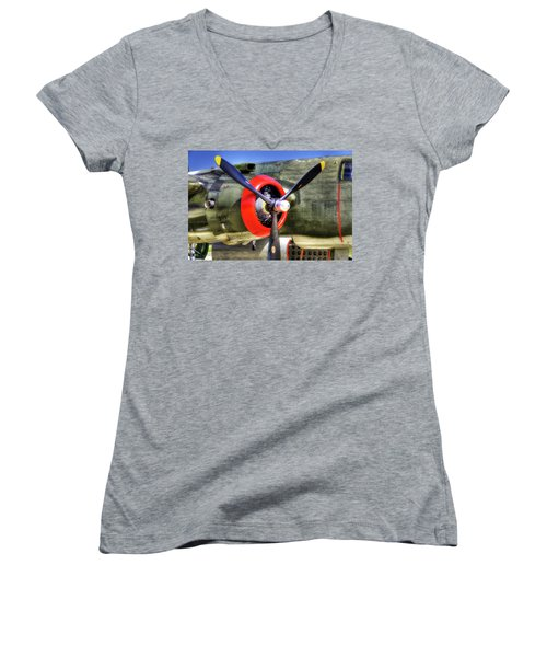 B-25 Women's V-Neck T-Shirt (Junior Cut) by Joe  Palermo
