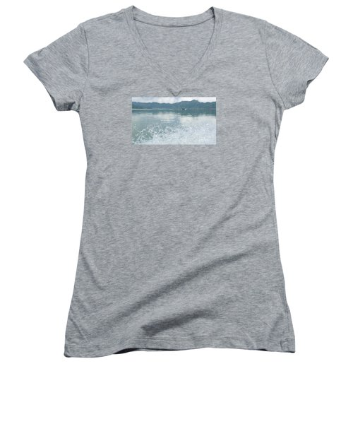 Women's V-Neck T-Shirt (Junior Cut) featuring the photograph Bali River  by Nora Boghossian