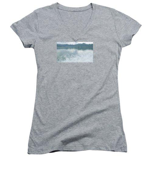 Bali River  Women's V-Neck T-Shirt (Junior Cut) by Nora Boghossian