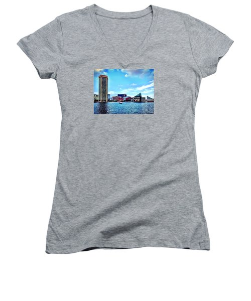 Baltimore's Inner Harbor Women's V-Neck T-Shirt